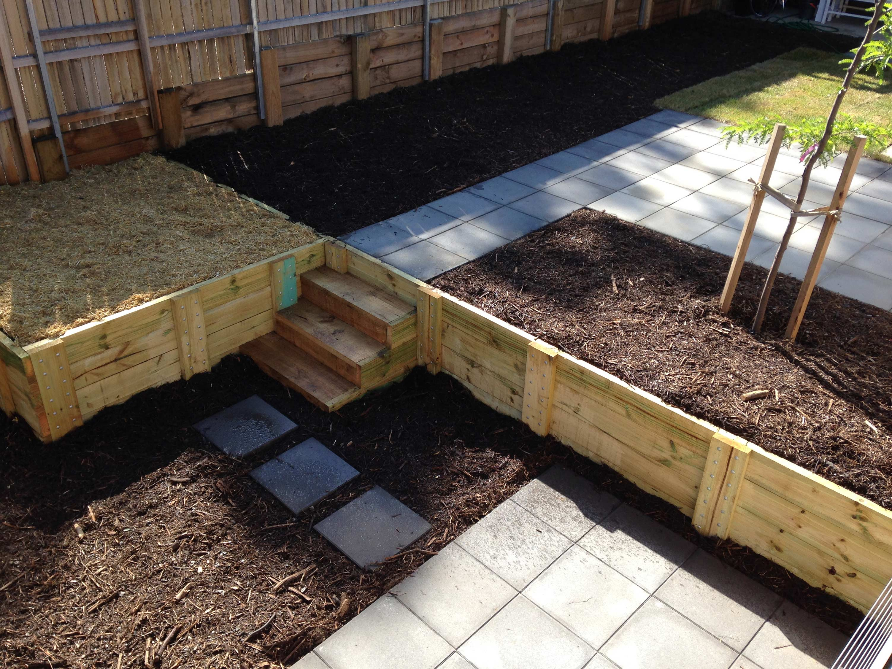 Tay Street, ACT. Paving, Turfing, Gardening and Retaining Wall