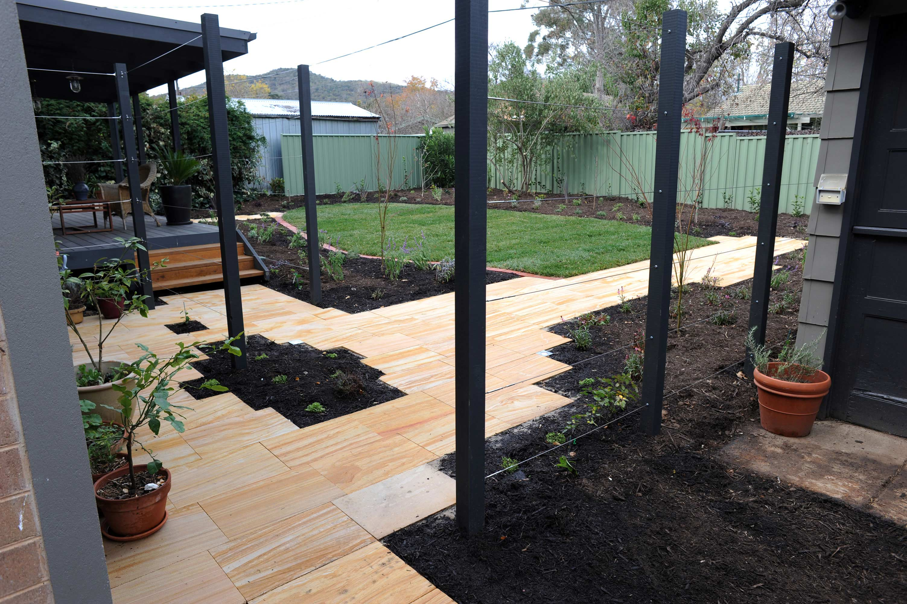 Antill Street, ACT. Paving, Turfing, Planting and Climbers