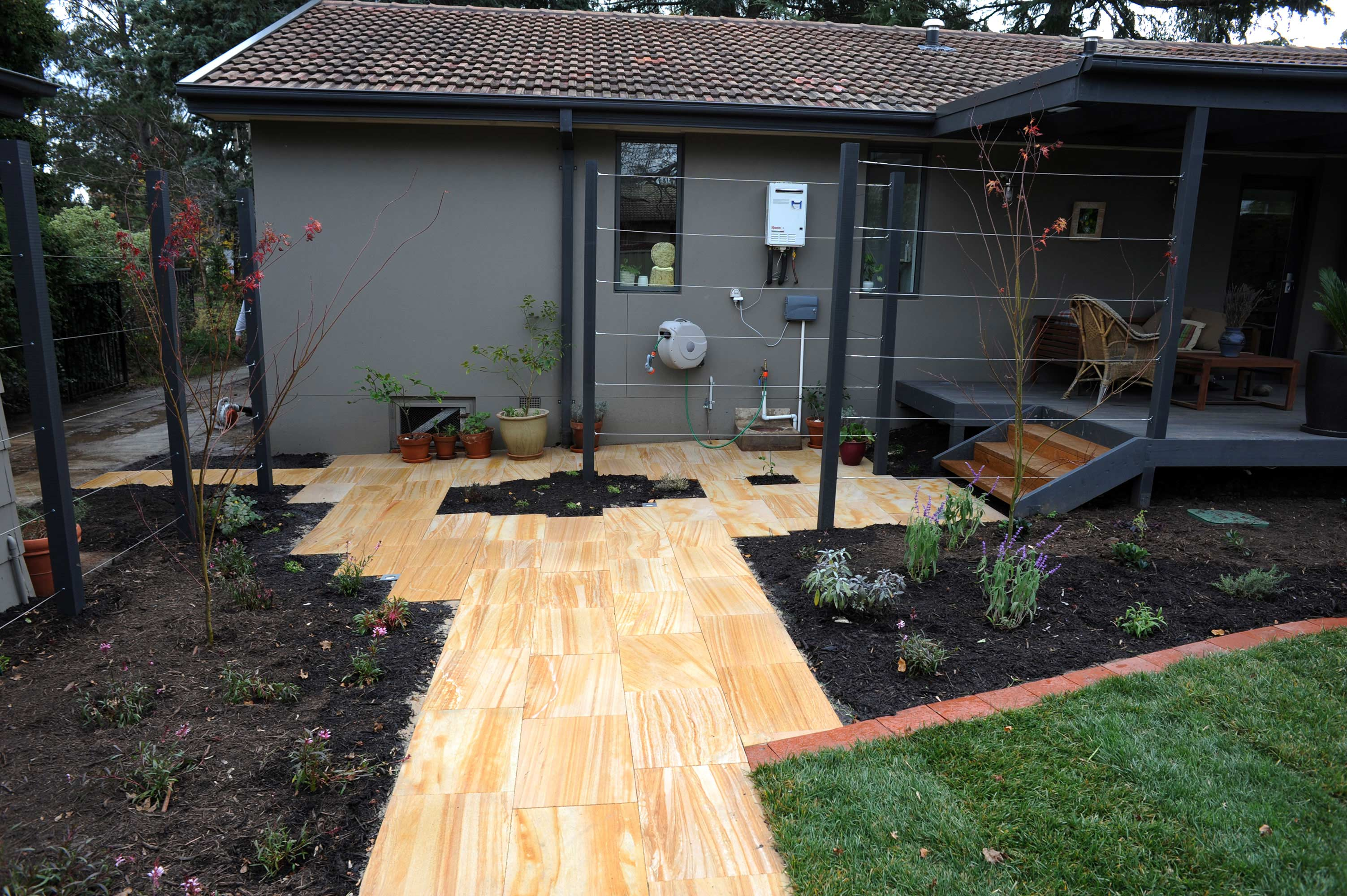 Antill Street, ACT. Paving, Turfing, Planting and Climbers 2